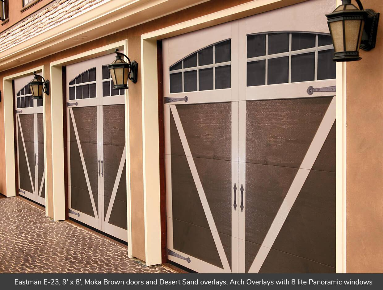 Eastman E-23, 9' x 8', Moka Brown doors and Desert Sand overlays, Arch Overlay with Panoramic 8 lite windows