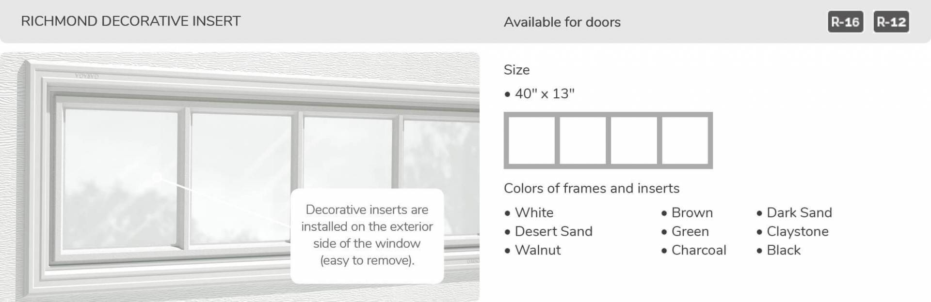 Richmond Decorative Insert, 40' x 13', available for doors R-16 and R-12