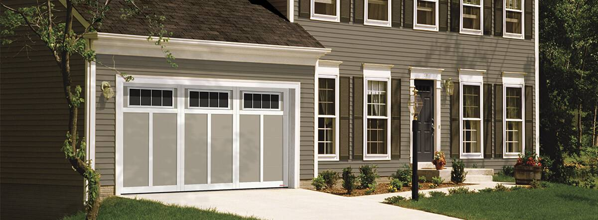 Eastman E-12, 14' x 7', Claystone door and Ice White overlays, 4 lite Orion window